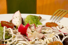 Elver salad. Dressed with olive oil and herbs Stock Photography