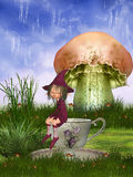 Elves. Magic scene with elve and mushroom Stock Image