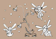 Elves | angels with hearts and flowers in art nouveau style.  Royalty Free Stock Photography