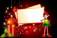 Elves with a big christmas cards Stock Photos