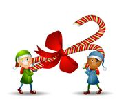 Elves Carrying Candy Cane. An illustration featuring two elves carrying a candy cane wrapped in a bow stock illustration
