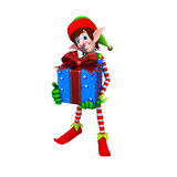 Elves Carrying Christmas Gift Royalty Free Stock Photo