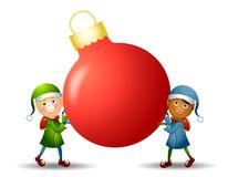 Elves Carrying Ornament stock illustration