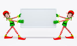 Elves Carrying white Sign Royalty Free Stock Photo