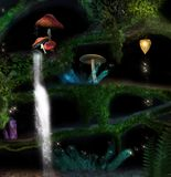 Elves caves inside a trunk in a magic forest. Underwood fantasy background with elves caves inside a trunk - 3D and digital painted illustration stock illustration