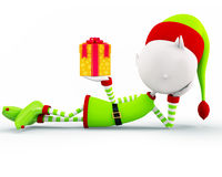 Elves for christmas. 3d illustration of Elves with giftbox Royalty Free Stock Photo