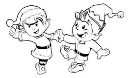 Elves Christmas Dancing. Black and white illustration of boy and girl Christmas elves dancing in Santa outfit and elf clothes Royalty Free Stock Photography