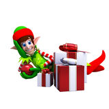 Elves with Christmas Gift Royalty Free Stock Images