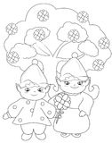 Elves coloring page Royalty Free Stock Photos