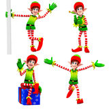 Elves dancing around gift Royalty Free Stock Photo
