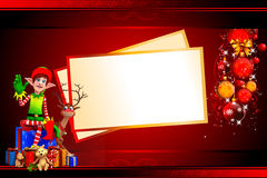 Elves with deer and many gifts in red background Royalty Free Stock Photography