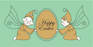 Elves with easter egg Stock Photos