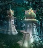 Elves fantasy town in the mysterious underwood royalty free illustration