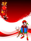 Elves with gift box on red background Stock Photo