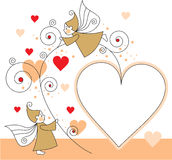 Elves with hearts Royalty Free Stock Photography