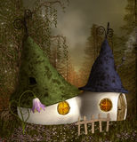 Elves houses. In the middle of the forest Stock Images
