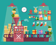 Free Elves Make Christmas And New Year Gifts Royalty Free Stock Photography - 61689077