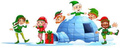 Elves playing outside the igloo Stock Images