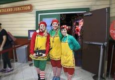 Elves pose inside Macy's department store in NYC. NEW YORK, NEW YORK, USA - DECEMBER 10: Female elves pose in front of Santaland Junction inside Macy's Stock Images