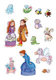 Elves, princess queen, winged horse, owl, cat with crown, ladybug and bee Stock Images