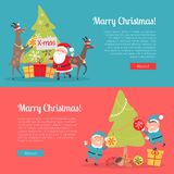 Elves in Santa Suit and Deer Helper Decorate Tree. Merry Christmas web banner. Two elves in blue santa suits and animals deers helpers decorate Christmas tree Stock Images