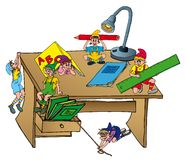 Elves on school table. Vector illustration Royalty Free Stock Photography