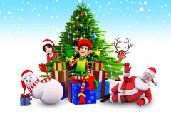 Elves sitting before christmas tree Royalty Free Stock Photo