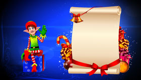 Elves sitting near big sign Royalty Free Stock Images