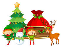 Elves and snowman by the Christmas tree. Illustration Stock Photo