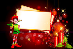 Elves standing near big christmas cards Royalty Free Stock Photos