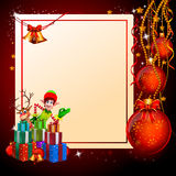 Elves standing before white sign and many gifts Stock Photos