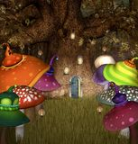 The secret elf place is open to visitors. Elves tree house with open door and many colorful mushrooms nearby – 3D illustration vector illustration