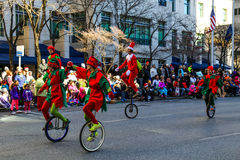 Elves on Unicycles Royalty Free Stock Photos