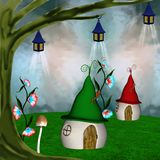 Elves village. Enchanted elves village with curious houses Royalty Free Stock Photography