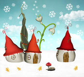 Elves winter houses. A beautiful, fantasy winter illustration Stock Photo