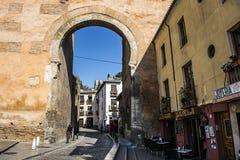 Door of Elvira, Granada, Spain. View of the Door of Elvira , built in the eleventh century by the Zirid Sultans Royalty Free Stock Photos