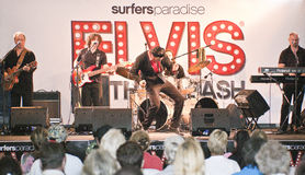 Elvis is alive. Surfers Paradise - January 7 Mr. Mark Anthony singer / performer on the stage during the concert Surfers Paradise Elvis Birthday Bash Saturday 7 stock photography