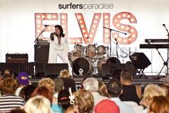 Elvis Birthday Party. Unidentified singer performs as Elvis Presley royalty free stock photo
