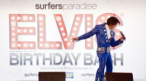 Elvis Birthday Party. Unidentified singer performs at Elvis Birthday Bash, Surfers Paradise, January 7 2012 royalty free stock photo