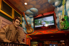 Elvis character at the entrance of the bar Royalty Free Stock Image