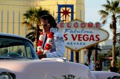 Elvis in Las Vegas. Elvis impersonator in in fron of Las Vegas Sign Stock Photography