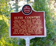 Elvis Presley Country sign. Elvis Presley sign at his childhood home in Tupelo, Mississippi Royalty Free Stock Photos