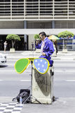 Elvis Presley cover performes on Paulista Avenue in Sao Paulo, Brazil stock photography