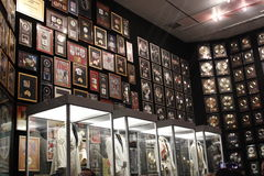 Elvis Presley Graceland Mansion. Wall of records and suits Stock Photos