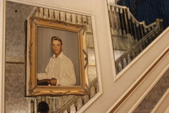 Elvis Presley Graceland. Staircase at Graceland with framed picture of Elvis Presley Royalty Free Stock Photos
