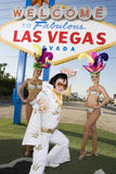Elvis Presley Impersonator With Casino Dancers Stock Photo