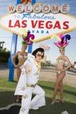 Elvis Presley Impersonator With Casino Dancers photo stock