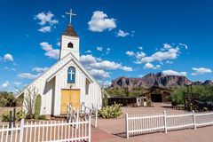 Elvis Presley Memorial Chapel. The Elvis Presley Memorial Chapel in Apache Junction, Arizona. Superstition Mountain can be seen in the background Royalty Free Stock Images