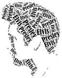 Elvis Presley portrait. Word cloud illustration. Royalty Free Stock Photo