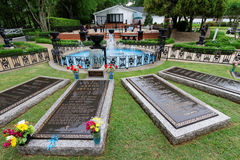 Elvis Presley's Grave. MEMPHIS, TENNESSEE, May 11, 2015 : Elvis Presley died aged 42 on 16 August 1977 at his home Graceland in Memphis. Elvis and his mother's stock images